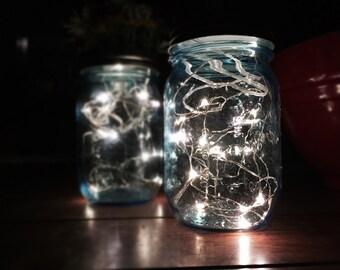 Fireflies in a Jar / Set of 2 / JARS INCLUDED! / Table Décor / Centerpiece / Nightlight