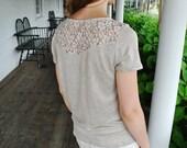 SALE  Daria- T-Shirt/ Natural 100% linen/ Lace insert linen top/ Boho clothing/Lace back top/Linen t-shirt/Linen blouse Ready to ship