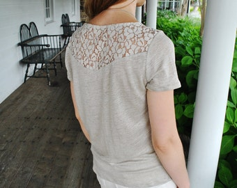 Daria- T-Shirt/ Natural 100% linen/ Lace insert linen top/ Boho clothing/Lace back top/Linen t-shirt/Linen blouse