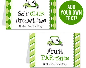 INSTANT DOWNLOAD Golf Party Buffet Cards - EDITABLE Printable File