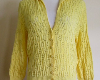 vintage sunny yellow Walter Lane Piccadilly, London handmade pointelle cardigan