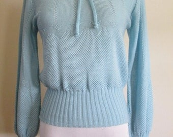 vintage cornflower blue pointelle tie neck sweater size small
