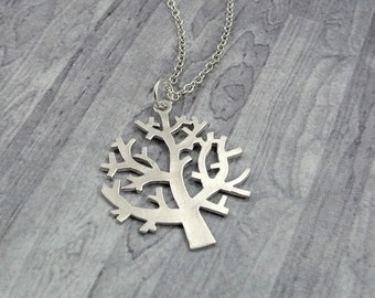 Winter Tree Necklace, Silver Winter Tree Charm on a Silver Cable Chain