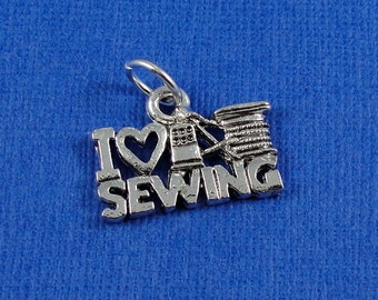 Love Sewing Charm - Silver Sewing Charm for Necklace or Bracelet