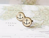 Anchor Cufflinks. Nautical Cufflinks. Beach Wedding Cuff Links for Men.