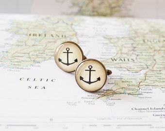 Anchor Cufflinks. Nautical Cufflinks. Beach Wedding Cuff Links for Men.
