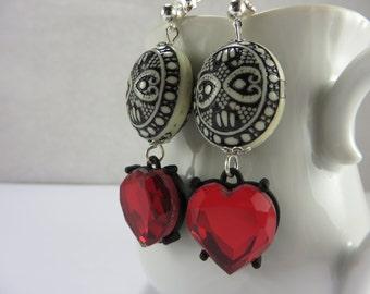 Heart Red White Black Acrylic Glass Boho Earrings Free Shipping