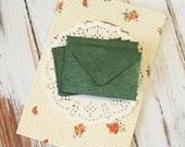 Forest Green Textured Mini Envelopes & Felt White Cards 10pc set