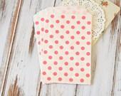 Hot PINK Polka Dot Middy Bitty Bags medium paper bags