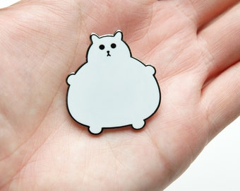 Enamel Cat Brooch - Enamel Badge - Lapel Pin - Cat brooch - Fat Kitty - White Cat Brooch - Cat Pin - Cat Lover Gift - Hard Enamel Cat Brooch