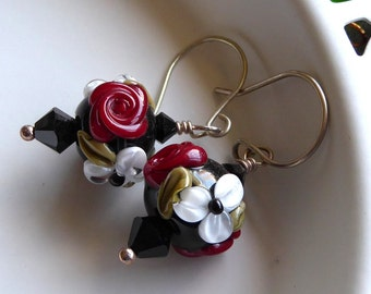 Earrings lampwork glass floral beads sterling silver