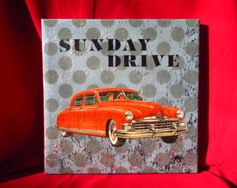 sunday drive - original painting w 1950s collage