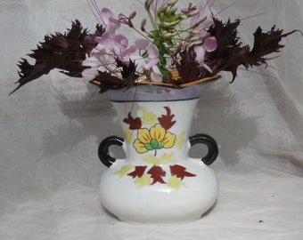 Vintage Hand Painted Vase, with Blue and Orange Luster Japan Made