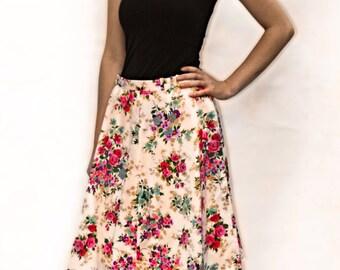 A line floral skirt