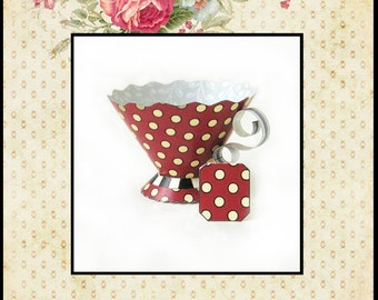 Teacup Party Favors / Tea Party, High Tea, Bridal Shower, Baby Shower, Birthday / DIY / Tea Cup / Whimsical Red Gold Grey Cottage Chic Dots