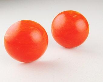 Vintage Earrings: Red/Orange Plastic Clip Ons, W Germany