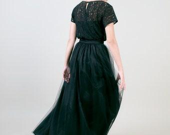Floor length Tulle maxi Skirt / Full length Long black skirt