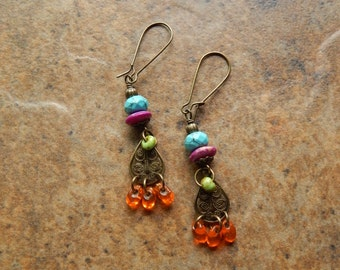 Chandelier earrings, multicolored, gypsy earrings, bohemian jewelry, boho style, festival earrings, purple turquoise orange