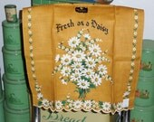 Vintage Town And Country Gold Fresh As A Daisy Linen Kitchen Towel Unused