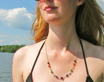 Gold Chakra Necklace, Meditation Necklace, 7 Chakra Yoga Jewelry in Gemstones & 14k Gold Filled