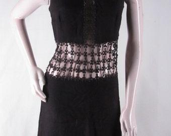 Vintage Mod Black Dress S Open Floral Lace Waist Inset Sleeveless