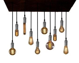 Rustic Reclaimed Wood Edison Bulb Industrial Chandelier lights LED Edison Rustic lighting Country Rustic Chandelier