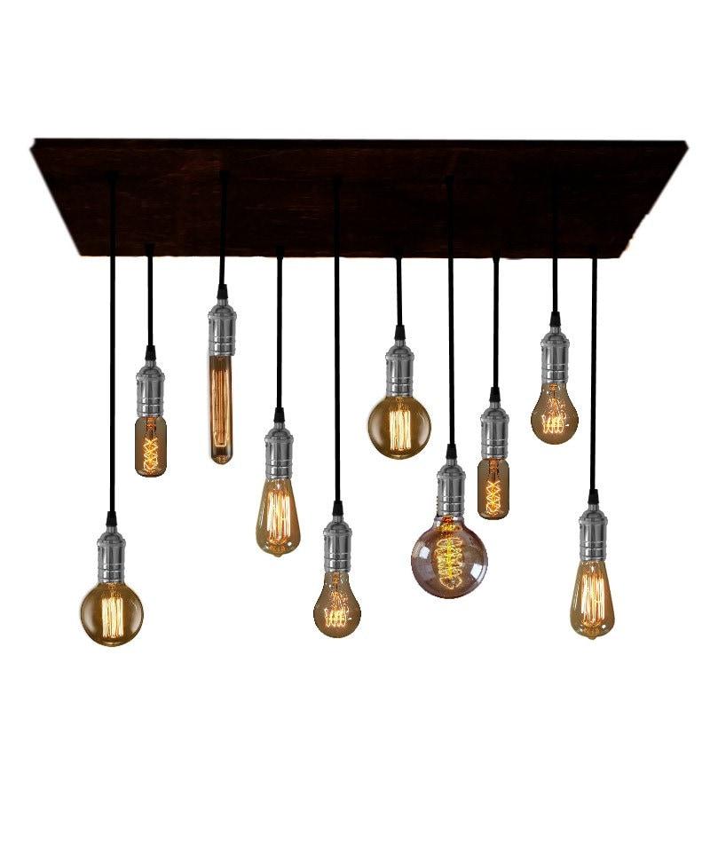 Chandelier With Edison Bulbs: Rustic Reclaimed Wood Edison Bulb Industrial Chandelier Lights