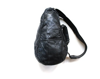 Vintage Leather Backpack / Black Leather Backpack / Leather Knapsack