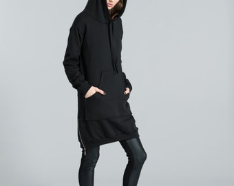 Hoody Sweatshirt Dress / Sweatshirt Dress / Black Hoodie / Black Dress / Zipper Hoody / Oversize Sweatshirt / marcellamoda - MC316