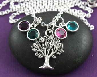 SALE - Family Tree Necklace - Grandma Jewelry - Birthday Gift - Birthstone Necklace - Mommy Gift - Mommy Necklace - Gift from Kids