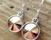 Rose Gold Swarovski Crystal Earrings, Rose Gold Crystal Briolette Round Rivolis, Sterling Silver Earrings, Gift For Her, Rose Gold Jewelry