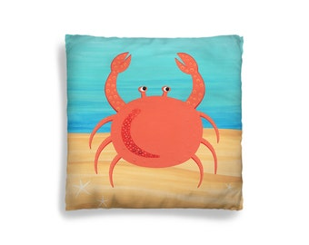 Pillow Cover - Decorative Children's Throw Pillow from Hand Painted Images - Under the Sea Ocean Theme Crab 16x16 18x18 20x20 or 24x24