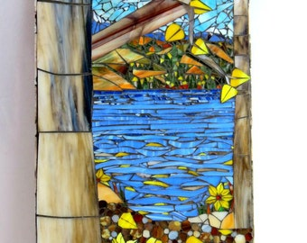Stained Glass Mosaic/ Colorado Autumn/ Aspen Trees/ Water Landscape