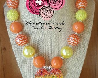 Candy Corn Necklace-Little Girl Bubblegum Necklace,Children Necklace,Girl Chunky Necklace,Bubblegum Necklace,Toddler Girl Necklace