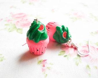 Watermelon Cupcake Earrings, Watermelon, Cupcake Earrings, Cake, Cute Earrings, Food Earrings, Polymer Clay, Charm Earrings, Kawaii, Lolita