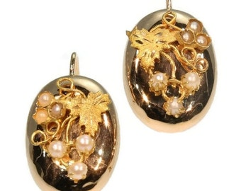 Antique Gold Drop Earrings - Victorian rose gold antique drop earrings with seed pearls, grape vine decoration