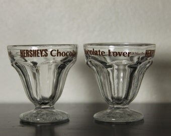 Retro Set of 2 Hersheys Chocolate Lovers Ice Cream Cups Dessert Stemmed Vintage Clear Glass MidCentury Collection Quality Display