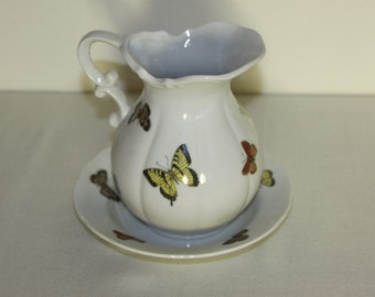 Butterfly Pitcher Fine China by Papillon Japan Decorative Creamer with Saucer Plate Fired Porcelain Design of Butterflies on Both pieces