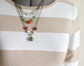 Layered Beaded Necklace in Copper, Green, Red, Turquoise, and Brown, Multi Strand Chain