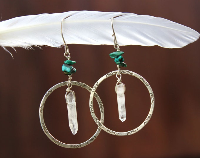 Boho Whisper Earrings - Turquoise, Crystal Quartz, and Silver