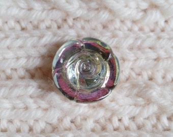 KLC11 - The Shawl Pin without a Pin for your handknits.  Knit Link in Czech Glass -clear Rose pink/green dichroic CHOOSE TOGGLE SIZE