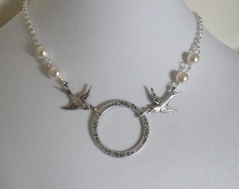 Love Necklace Circle and birds - Silver Circle, two birds, White pearls, Silver chain, Free Shipping, Wedding Necklace , Gift