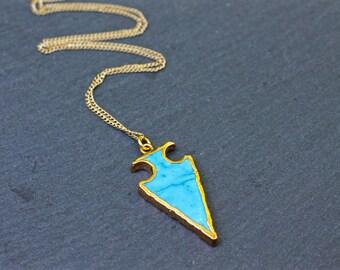 Turquoise Arrowhead , Arrow Necklace , Trendy Necklace , Turquoise Necklace , Blue Necklace , Boho Necklace , Arrow Jewelry , Amy Fine
