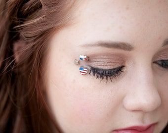 4th of July Outfit Eye Makeup - Fourth of July Womens Accessories - American Flag Gift - Tiny Temporary Tattoo - Red White Blue USA Flag