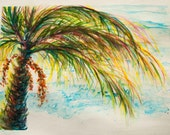 Turquoise Green Palm Tree full of life over turquoise seas WaterColour ORIGINAL 11x15  Beach Pink undertones coastal art  Nautical