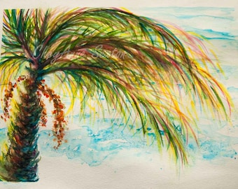 Turquoise Green Palm Tree WAS 75 NOW only 60 over turquoise seas WaterColour ORIGINAL 11x15  Beach Pink undertones coastal art  Nautical