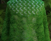 Leaf Green Dancing in the Garden Hand Knitted Crescent Shaped Pure Merino Wool Lace Shawlette or Shawl