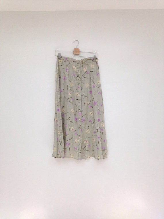 Vintage 1990s High Waisted Belted Sage Green Floral Button Down Skirt