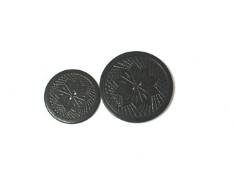 Vintage 40s Buttons Pair of Black Plastic Deco Coat Xlarge Buttons