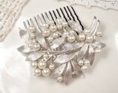 Ivory Pearl Brushed Silver Leaf Bridal Hair Comb, TRIFARI Brooch to OOAK Wedding Hair Accessory Headpiece Retro Vintage Modern Head Piece